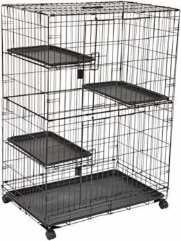 Amazon Basics – Großer Katzenkäfig mit 3 Ebenen, 91 x 57 x 128,5 cm, Schwarz - 1