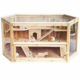 EUGAD 0035HT Hamsterkäfig Massivholz Rattenkäfig Nagerstall Kleintierkäfig Mäusekäfig Nagervilla Dreistöckig 115 x 60 x 58 cm - 1