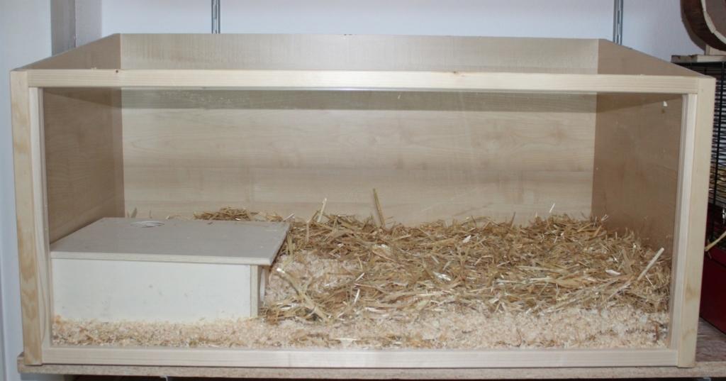 Hamsterkäfig aus Glas und Holz