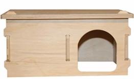 Hamsterwelten Goldhamsterhaus Traumvilla - Mehrkammerhaus aus Holz mit abnehmbarem Dach, Zwei Kammern & großem Eingang - 1