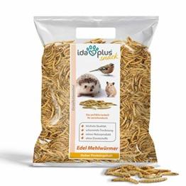 Ida Plus - Edel Mehlwürmer getrocknet - Insekten Snack für Igel, Hamster, Teichfische und Reptilien - Vogelfutter für Wildvögel - Naturprodukt ohne Zusatzstoffe - Wildvogelfutter 1000 g - 1