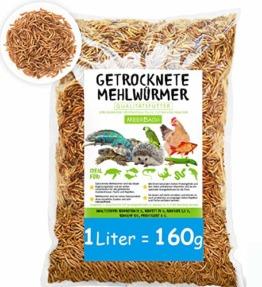 MeerBach SHF-Natur Mehlwürmer getrocknet • 1 Liter (entspricht 160g) • der beliebte und natürliche Snack für Fische, Nager, Reptilien, Schildkröten und Igel - 1