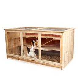 Melko Kleintierkäfig Nagervilla Hamsterkäfig Mäusekäfig aus Holz, 117 x 63 x 58 cm, inklusive 2 Rampen, 3 stöckig - 1
