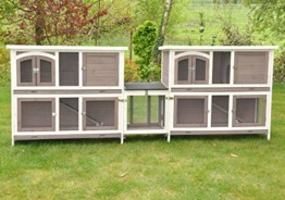 nanook Balu Hasenstall-System Set, Zwei doppelstöckige Kaninchenställe mit Verbindung für Kleintiere, wetterfester Holz-Kleintierstall, 280x 50x 104cm - 1