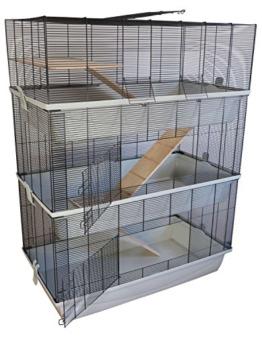 PETGARD Mäuse- und Hamsterkäfig Carlos Sky mit 3 Etagen und 7 mm Verdrahtung - 1