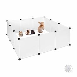 Relaxdays Freilaufgehege Kunststoff, DIY Freigehege, Erweiterbarer Auslauf für Kleintiere, HBT 47 x 110 x 110 cm, weiß - 1
