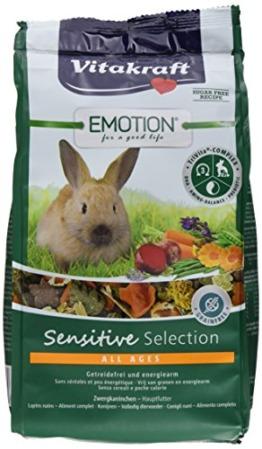 Vitakraft Alleinfutter für Zwergkaninchen, Ausgewogene Futtermischung, Getreidefrei, Emotion Sensitive Selection (5 x 600g) - 1