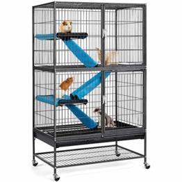 Yaheetech Kleintierkäfig, Metallkäfig für kleine Haustiere, Kaninchenstall mit 4 Räder, Käfig mit 2 abnehmbaren Rampen & Plattformen - 1